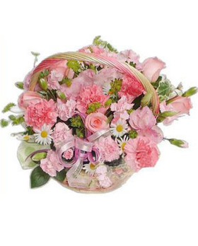 Flower Delivery Services on Pink Flowers Basket  Birthday Flowers Basket  Pink Color Arrangments