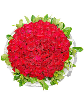 99 Red Roses in Bouquet